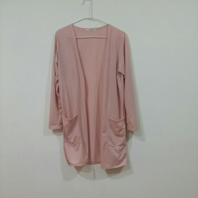 粉色棉質開襟外套 韓國