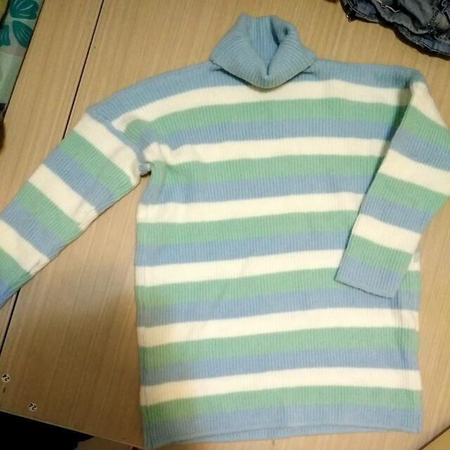 馬卡龍橫條高領毛衣長版 全新