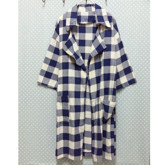 * 藍白格紋單釦口袋外套 *