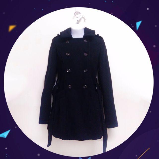 【含運下殺】黑 毛料 綁帶 雙排扣 長版 風衣 外套