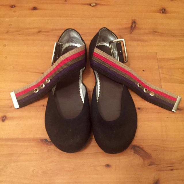 Black Canvas Flats With Strap