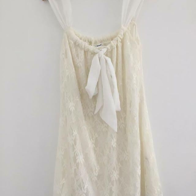 Cream Lace Short Dress