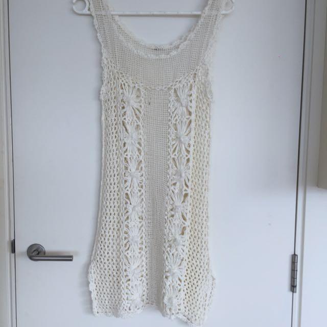 Crochet Free People Cream Dress