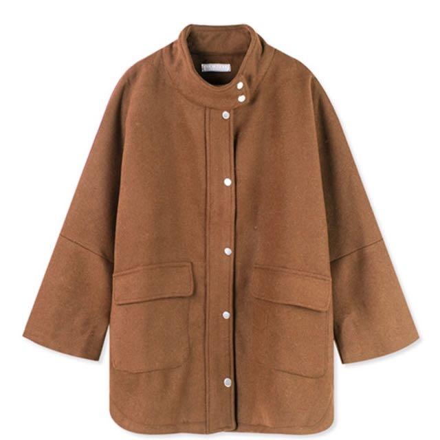 全新💫寬袖金釦毛呢大衣外套(F)