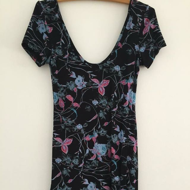 Floral Pattern Tight Dress