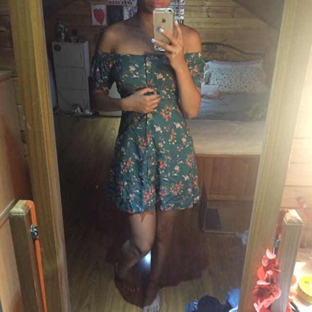 Green Size 8 Floral Summer Dress