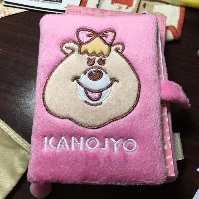 含郵降)kumatan WC熊絨毛筆記本notebook