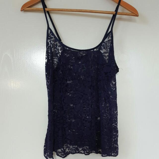 Lace Floral Mesh Top Small