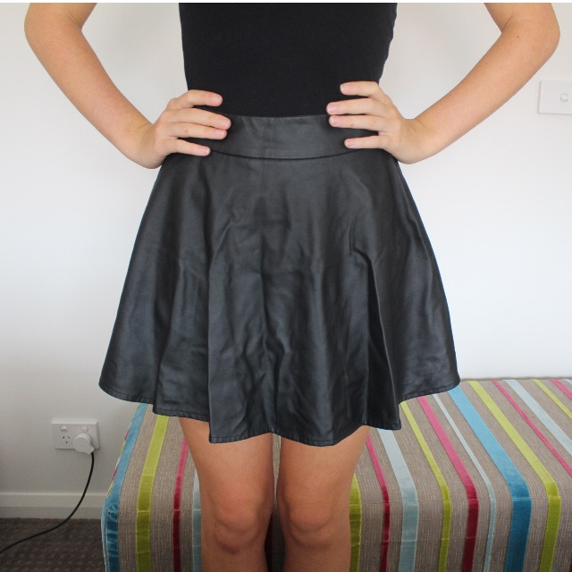 Leatherette Skater Skirt