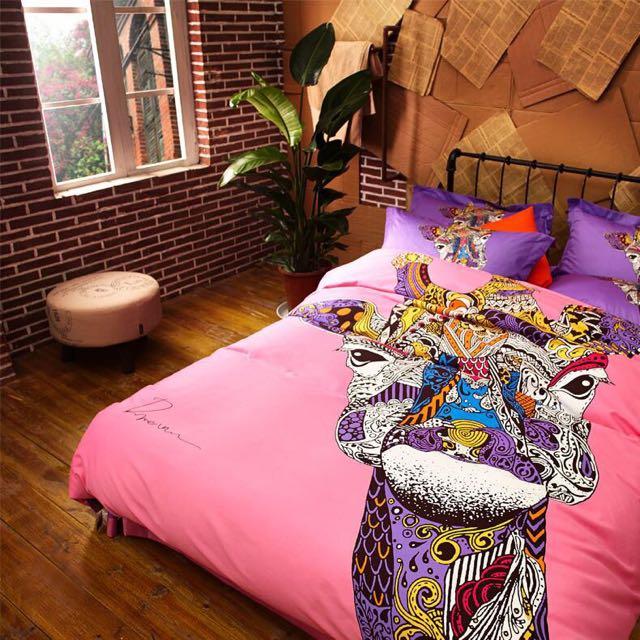 ['ml]梅爾曼長頸鹿全棉雙人床罩四件組/雙人床單四件組組/雙人加大/床組