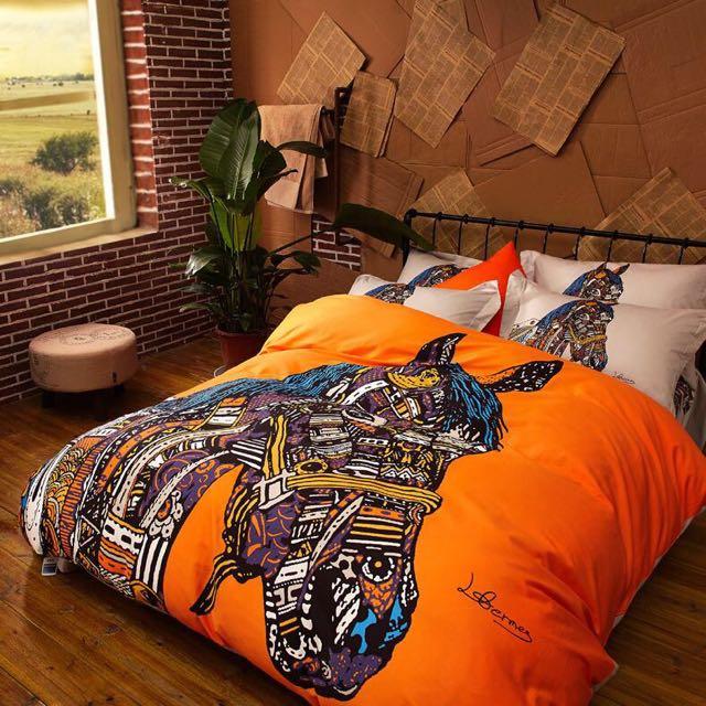 ['ml]特洛伊藝術馬全棉雙人床罩四件組/雙人床單四件組組/雙人加大/床組