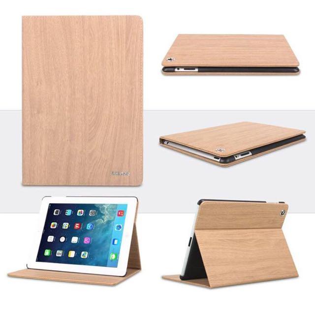 ['ml]Ipad Air/2/3/4/mini木紋保護皮套/保護殼 材質:PU皮革+PC底托(7色)
