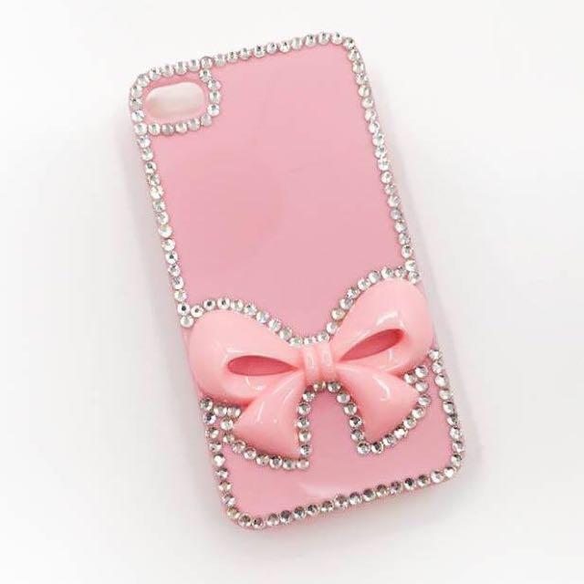 ['ml]現貨特價iphone4立體蝴蝶結貼鑽手機殼/手工製