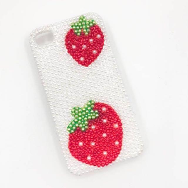 ['ml]現貨特價iphone4草莓滿鑽貼鑽手機殼/手工製