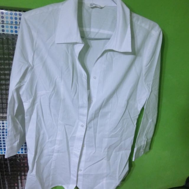 NET七分袖白襯衫