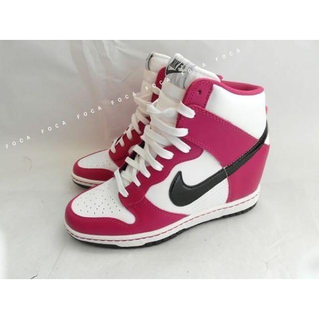 NIKE WMNS DUNK SKY HI 白黑 桃紅配色 內增高 AJ!配色 高筒 皮革 楔形鞋 女鞋 增
