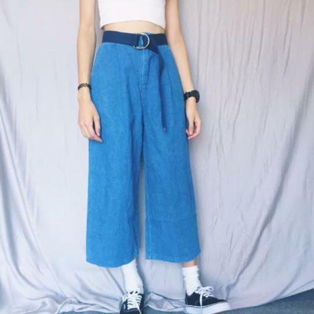 Per. 水藍牛仔寬褲