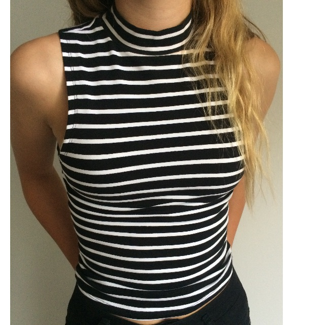 Striped turtle neck crop top