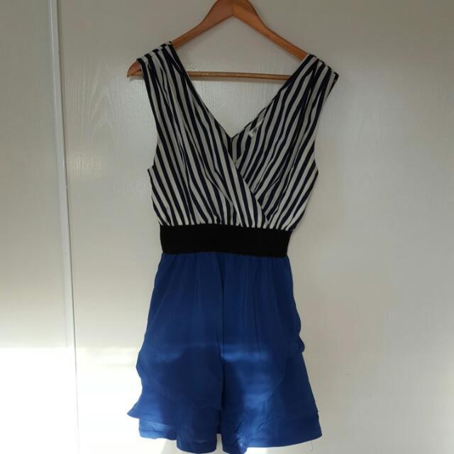 Stripey Blue Dress Size 10