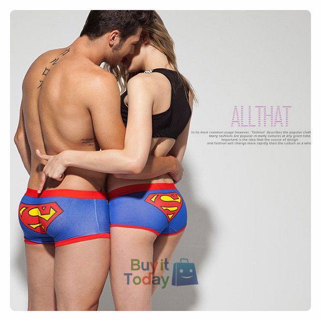 Superman Woman Couple Underwear Panty Brief Cartoon Gift