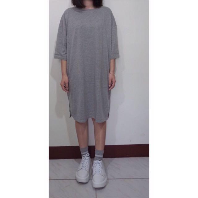 長版棉t洋裝慵懶日系寬鬆開衩灰黑七分袖開叉連身裙及膝