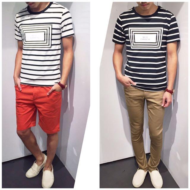 「免運費」《穿搭空間》框框爆裂紋橫條造型短袖t shirt(黑白色)