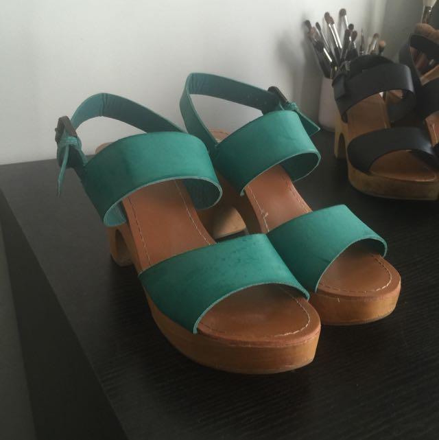 Teal Wooden Block Heels Size 39