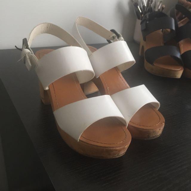 White Wooden Block Heels Size 39
