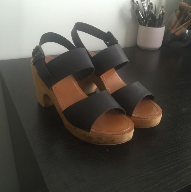 Wooden Block Black Heels Size 40