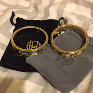House Of Harlow Gold And Leather Bangles New With Pouches