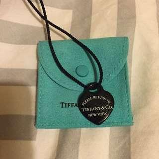 Rare Tiffany & Co Black Ceramic Pendant Necklace