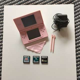 Pink Nintendo DS Lite With 3 Games