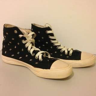 Sport b Agnes b 高統鞋 黑色 卯釘星星帆布鞋