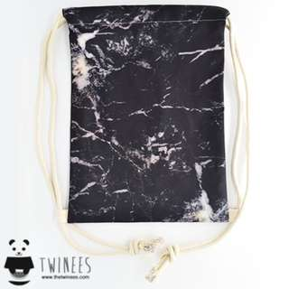 BACKORDER! Black Marble Drawstring Bag
