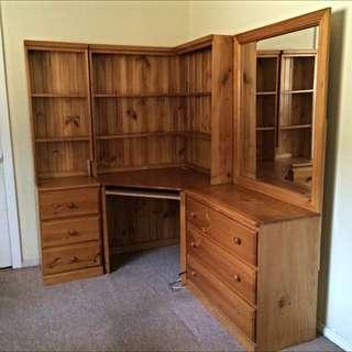 3pc Timber Bedroom Set