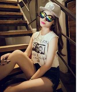韓版 夏季 復古 短版無袖T恤