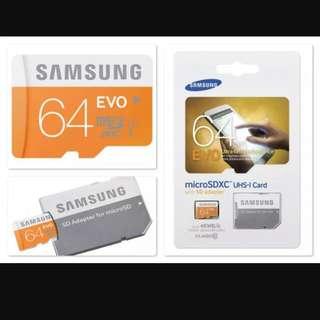 10 Years Local Warranty - Samsung EVO 64GB MicroSDXC Card