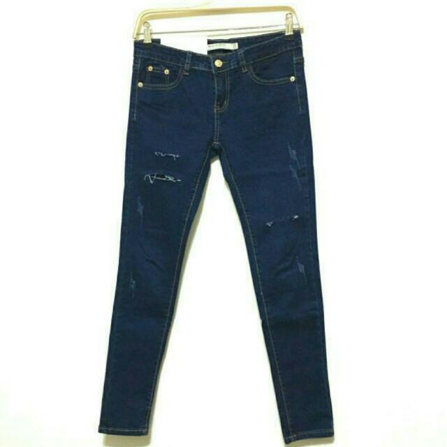 深藍刷破割破顯瘦鉛筆牛仔褲