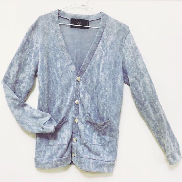 灰藍潑墨雲狀纖維針織衫☁️