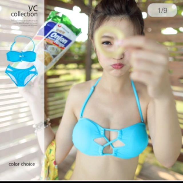 網絡熱銷水藍色爆乳辣妹比基尼