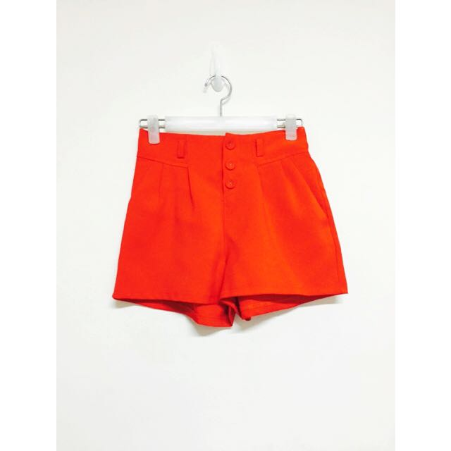 橘紅雪紡短褲