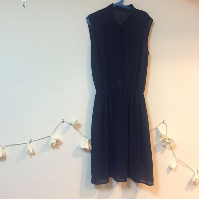 中山領深藍復古紗質洋裝