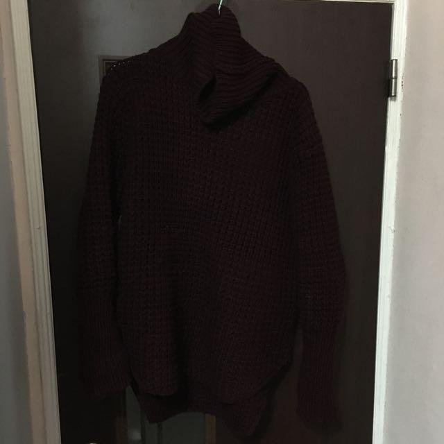 二手 酒紅針織毛衣