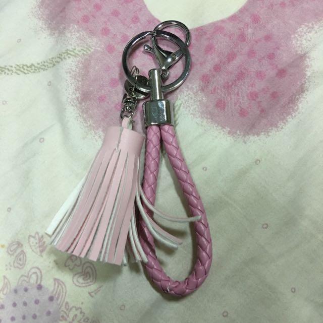 全新 流蘇 皮繩 鑰匙圈 吊飾