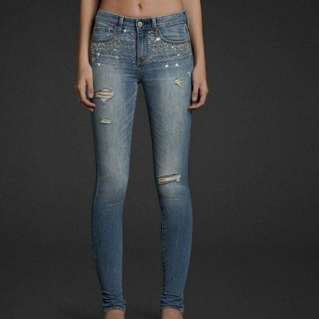 免運 超顯瘦 A&F 牛仔褲 閃鑽點綴 24腰 W24 保存良好 Abercrombie & Fitch