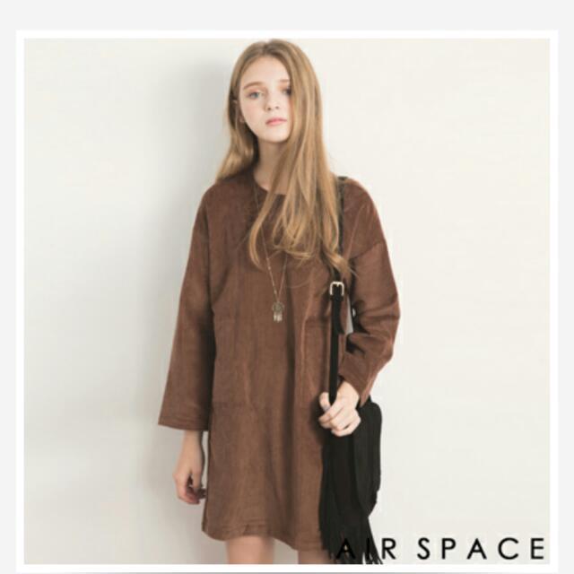Air Space韓版寬鬆雙口袋燈心絨洋裝