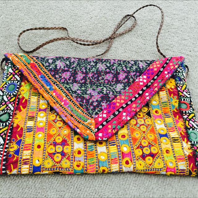 "Bohemian Vintage Multicoloured ""Abhla"" (Small mirror work) Sling Purse."