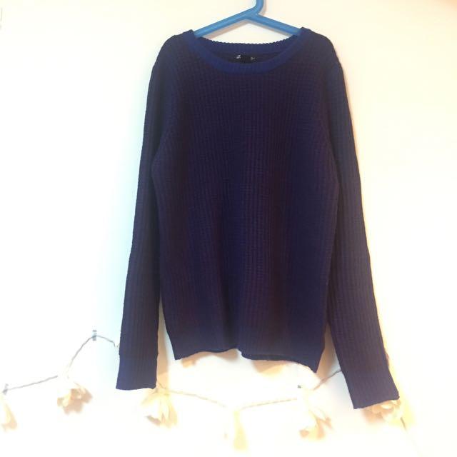 Forever21藍紫格紋針織毛衣