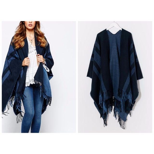 ∥…HIRO…∥英國直送 Pieces 秋冬款 藍色 線條 流蘇 披肩式 斗篷 圍巾 現貨