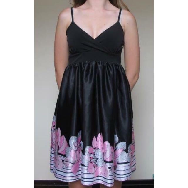 Black & Pink Flower Dress